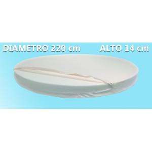 Materasso Rotondo Dolce Morfeo Alto 14 cm, Diametro 220 CM, Densità 30, Sfoderabile, Fodera in Aloe Vera