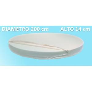 Materasso Rotondo Dolce Morfeo Alto 14 cm, Diametro 200 CM, Densità 30, Sfoderabile, Fodera in Aloe Vera