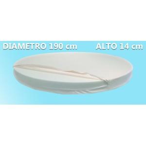 Materasso Rotondo Dolce Morfeo Alto 14 cm, Diametro 190 CM, Densità 30, Sfoderabile, Fodera in Aloe Vera