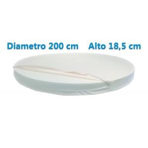 Materasso Rotondo Dolce Morfeo Alto 18,5 cm, Diametro 200 CM, Densità 30, Sfoderabile, Fodera in Aloe Vera