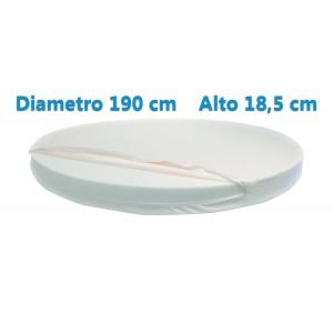 Materasso Rotondo Dolce Morfeo Alto 18,5 cm, Diametro 190 CM, Densità 30, Sfoderabile, Fodera in Aloe Vera
