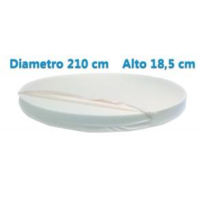Materasso Rotondo Dolce Morfeo Alto 18,5 cm, Diametro 210 CM, Densità 30, Sfoderabile, Fodera in Aloe Vera